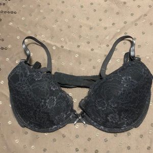 H&M Black Slate Gray Lace Underwire Push Up Bra